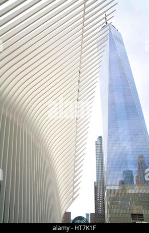 Low Angle View Of The Oculus And World Trade Center - Stock Photo