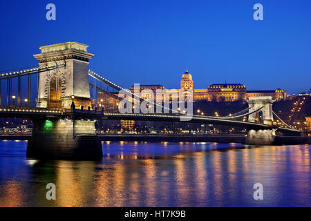 The Danube, Széchenyi bridge (or 'Chain Bridge') and the Royal Palace. Budapest, Hungary. - Stock Photo
