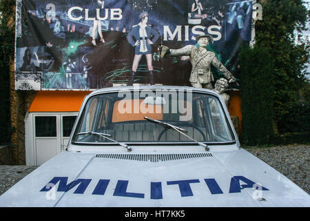 Craiova, Romania, November 8, 2009: An old Dacia 1100 car with Militia written on it is seen in the Museum of the - Stock Photo