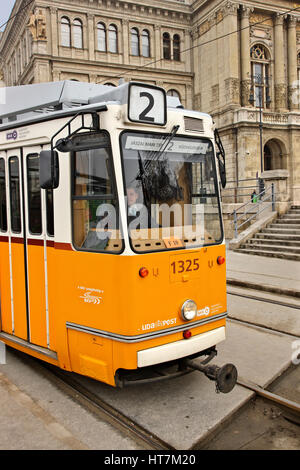 Tram number 2, the most scenic tramline in Europe, according to National Geographic magazine. Budapest, Hungary - Stock Photo