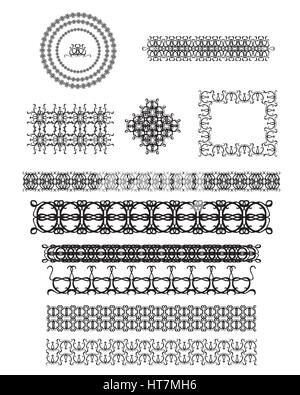 Vector set of line art frames, vignettes for design template. Element in Eastern style. Mono line decor for invitations, - Stock Photo