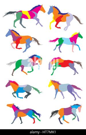 illustration with horse silhouettes collection isolated on white background - Stock Photo