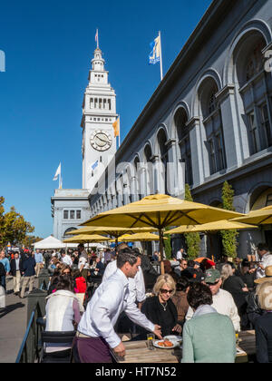 Alfresco restaurant dining on Embarcadero Ferry Building Farmers Market day San Francisco California USA - Stock Photo