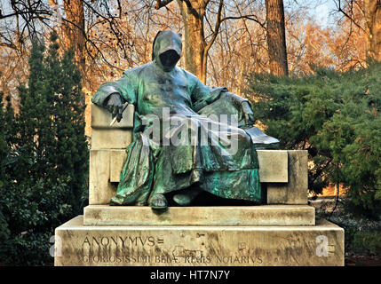 Statue of Anonymus at Vajdahunyad Castle in the City Park (Varosliget), Budapest, Hungary - Stock Photo