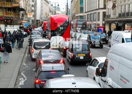 Traffic at a standstill on The Strand central London UK - Stock Photo