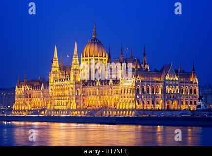 The spectacular Hungarian Parliament on the side of Pest, as seen from the side of Buda. - Stock Photo
