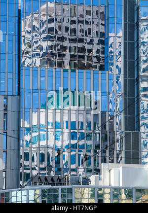 Reflections of buildings in buildings, Seattle, Washington. - Stock Photo