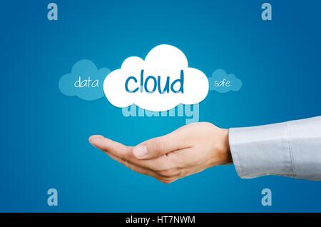 Cloud computing composition - hand and clouds with data and safe words - Stock Photo