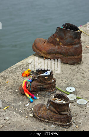'Detail' from the 'Shoes on the Danube bank' memorial on the side of Pest, Budapest, Hungary. - Stock Photo