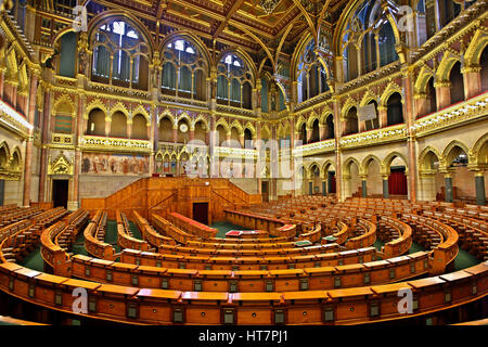 The chamber of the Lower House of the Hungarian Parliament, Budapest. - Stock Photo