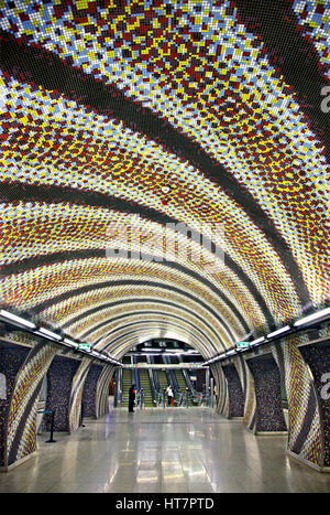 The impressive Szent Gellert Ter metro station in the brand new line 4, Budapest, Hungary - Stock Photo