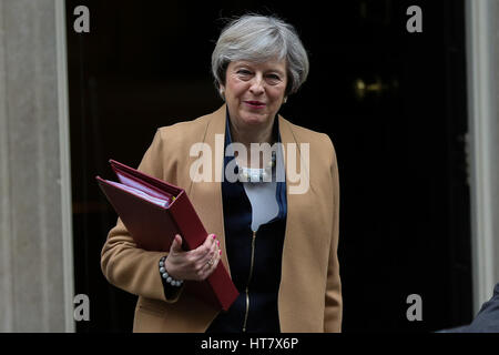 Downing Street, London, UK. 8th Mar, 2017. Prime Minister Therese May leaving Downing Street on Budget Day. Credit: - Stock Photo