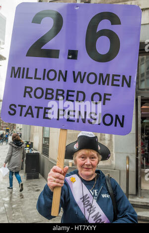 London, UK. 8th March 2017. Women against state pension inequality (WASPI) gather in Westminster to protest about - Stock Photo