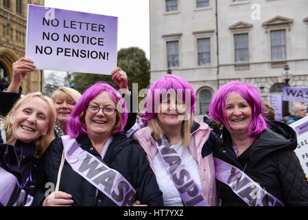 London, UK.  8 March 2017.  Women take part in a WASPI rally on International Women's Day.  Women Against State - Stock Photo