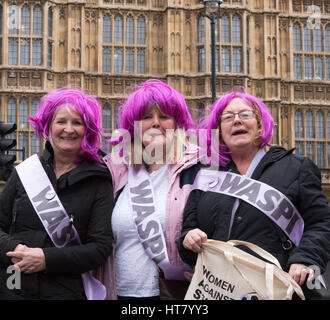 London, UK. 8th March 2017. Women against  State Pensiobn Inequality protest outside the House of Commons on Budget - Stock Photo