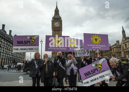 London, UK. 8th March, 2017. Women protest against State Pension Inequality in Parliament Square. Credit: claire - Stock Photo
