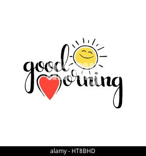 Good morning handwritten lettering. Modern vector hand drawn calligraphy with heart and funny smiling sun isolated - Stock Photo