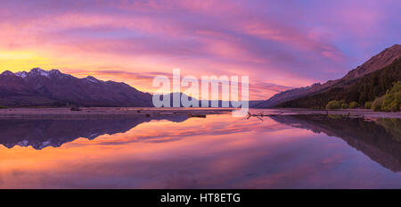 Mountains with lake Wakatipu at sunrise, Glenorchy near Queenstown, Otago Region, Southland, New Zealand - Stock Photo