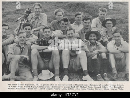 Group photo of the 1953 Everest Expedition and the succesful summit of Mount Everest by Sir Edmund Hilary and Sherpa - Stock Photo