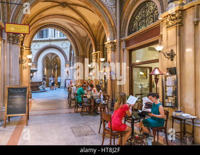 Vienna. Cafe and shops in the Freyung Passage, Palais Ferstel, Innere Stadt, Vienna, Austria - Stock Photo