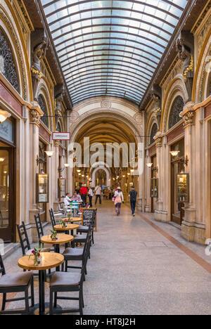 Vienna. Cafe and shops in the Freyung Passage, Palais Ferstel, Innere Stadt, Vienna, Austria - Stock Photo