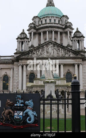 The front of the City Hall in Belfast. The main entrance to the building is in Donegall Square North, Belfast, Northern - Stock Photo