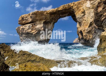 Azure Window - beautiful rock formation on Gozo, Malta. This is remembrance of that world miracle - sea took this - Stock Photo