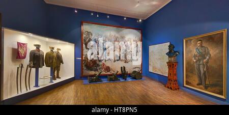 Polish-Soviet War of 1920 exhibits, Battle of Zadworze painting by Stefan Batorski, portrait of Jozef Pilsudski, - Stock Photo