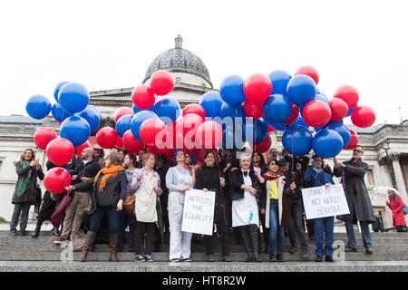 London, UK. 8 March 2017. Artists stand up to art world sexism on International Women's Day outside the National - Stock Photo
