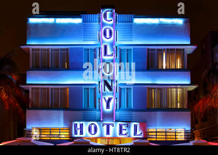 Colony Hotel, South Beach, Miami Beach, Florida - Stock Photo