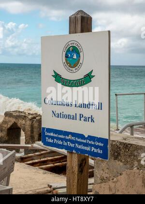 Sign For Columbus Landfall National Park Cockburn Town Grand Turk Turks And Caicos Island - Stock Photo
