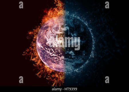 Planet Earth in fire and water. Concept sci-fi artwork. - Stock Photo