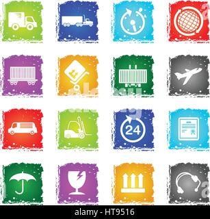 Cargo shipping simply symbol in grunge style for user interface design - Stock Photo
