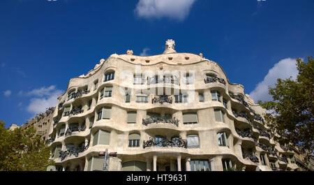 View of Casa Mila or La Pedrera in Barcelona, Spain - Stock Photo