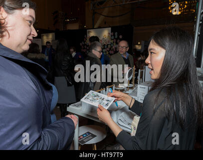 New York, United States. 09th Mar, 2017. New Yorkers browse Yamazaki products during Japan week at Vanderbilt Hall - Stock Photo