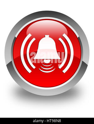Alarm icon isolated on glossy red round button abstract illustration - Stock Photo