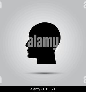 Human head or profile silhouette isolated on white background - Stock Photo