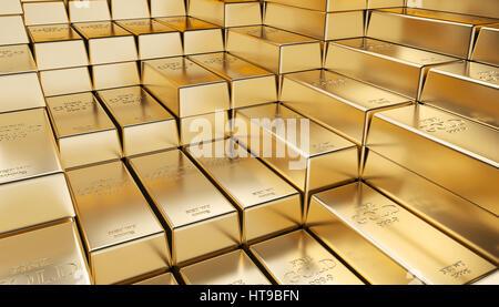 classic gold ingot 3d rendering image - Stock Photo