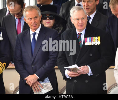 Former prime minister Tony Blair (left) and the Duke of Gloucester attending a Military Drumhead Service on Horse - Stock Photo