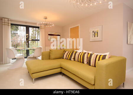 Home interior, modern lounge, new build, grey sofa, cream carpet ...