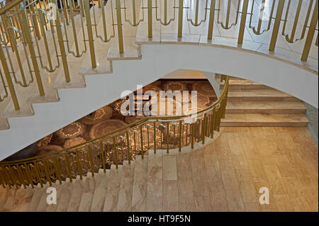 Three beautiful marble stairs in staircase of hotel. - Stock Photo
