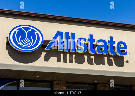 Muncie - Circa March 2017: Allstate Insurance Logo and Signage. The Allstate Corporation is the second largest personal - Stock Photo