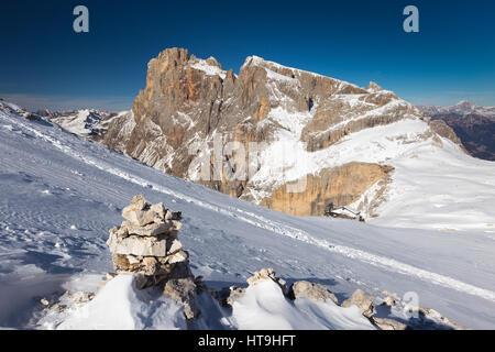 The Pale di San Martino mountain group. View on Cimon della Pala peak. The Dolomites of Trentino in winter season. - Stock Photo