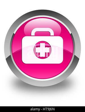 First aid kit bag icon isolated on glossy pink round button abstract illustration - Stock Photo