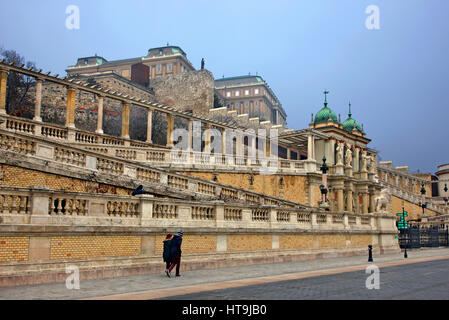 The entrance to the gardens of the Royal Palace (Buda castle), Buda, Budapest, Hungary. - Stock Photo