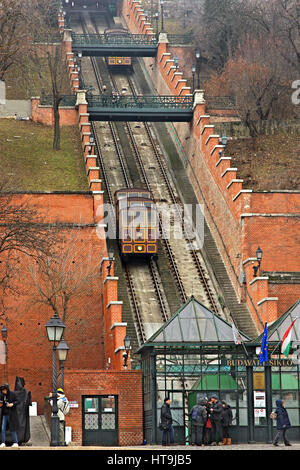 The Budapest Castle Hill Funicular or Budavári Sikló is a funicular railway that leads to the Castle Hill and the - Stock Photo