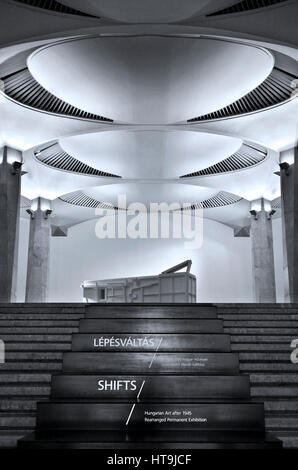 The entrance of 'Shifts' exhibition in the Hungarian National Gallery, located in the Royal Palace, Buda castle, - Stock Photo