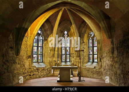 The Medieval chapel in the Budapest History Museum located in the Royal Palace, Buda castle, Budapest, Hungary - Stock Photo
