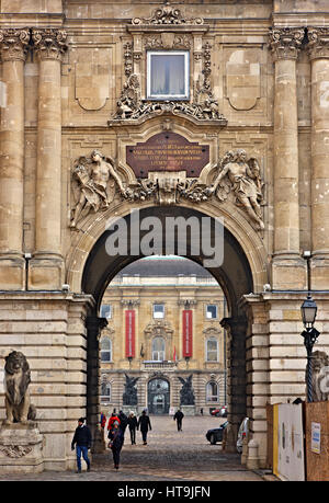The entrance to the Royal Palace, Castle Hill, Buda, Budapest, Hungary. - Stock Photo