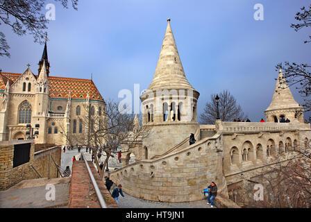 Matthias church (Matyas templom) and the 'Fisherman's Bastion', Castle Hill (Varhegy), Buda, Budapest, Hungary - Stock Photo